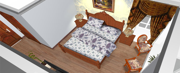 新古典实木床欧式卧室居室搭配效果——俯视图