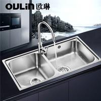 欧琳水槽  不锈钢双槽JBS2T-OLCT313+龙头OL9531