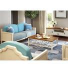 华日家居靓华系列美式乡村风格客厅套三人位沙发+电视柜+茶几
